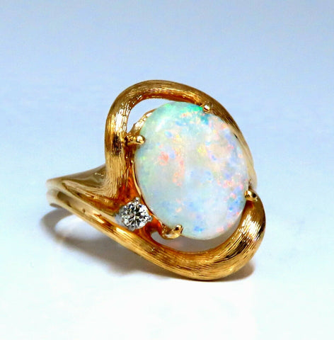 3.05ct Natural Australia Opal Diamonds Ring 14kt