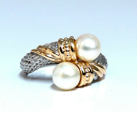 6.5mm Natural South Seas Pearl Silver Inlay 18kt gold ring cable twist deco