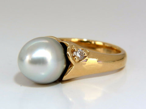 9mm natural silver tahitian pearl diamonds ring 14kt egg shaped