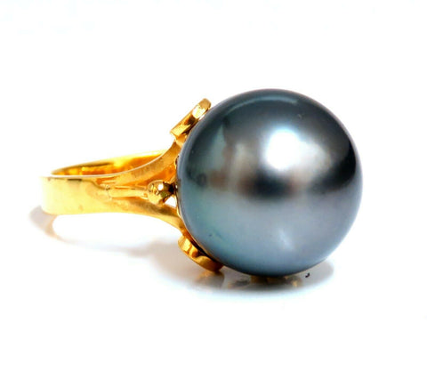 12.5mm Fine Natural Tahitian Black Peacock Pearl Ring 14kt Solitaire petals