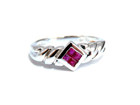 .40ct Princess cut Natural Ruby Invisible Cluster Ring 14kt