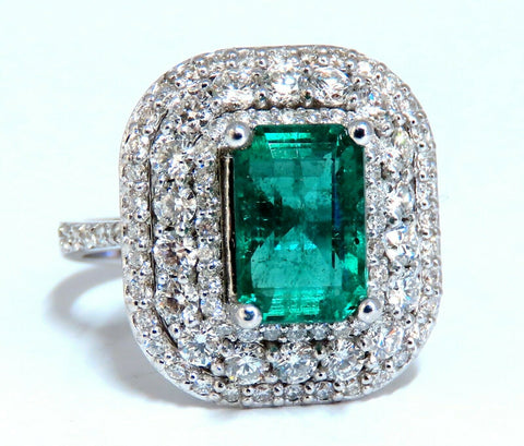 2.70ct Natural Emerald 2.10ct Diamonds Cluster Halo Ring 14kt Fine Select