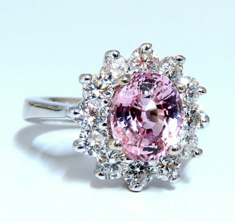 GIA Certified 3.58ct Natural Padparadscha Pink Sapphire Diamond Ring Fine