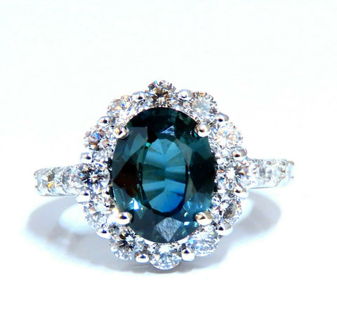 GIA Certified 3.03ct Green Blue Sapphire Diamond Ring Fine