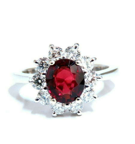 GIA Certified 1.44ct Natural Red Spinel .83ct Diamonds Ring 14kt. Fine