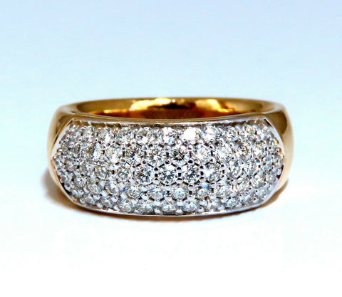1.00ct natural round diamond band ring 14 Karat Bead Set Pave Semi Dome