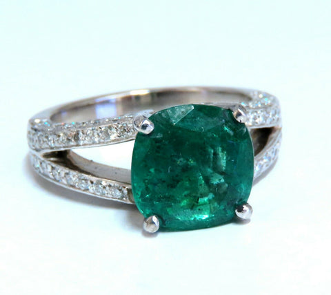 5.30ct Natural Cushion Emerald Diamonds Ring Platinum Split Shank Fine Green