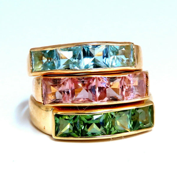 6.00ct Natural Tourmaline Aquamarine Morganite Stack Rings 14kt