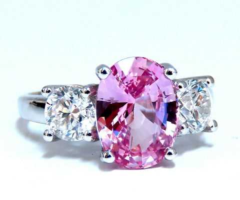 GIA Certified 3.66ct Natural Pink Sapphire Diamonds Ring 14kt Classic 3