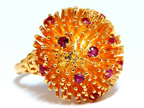 Corona V. Natural Ruby Raised Semi Domed Statement Ring 14kt
