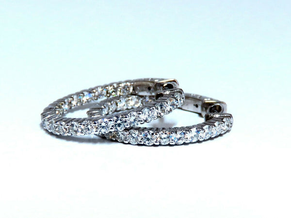 2.20ct Natural Diamond Hoop Earrings 14kt White Gold -1inch