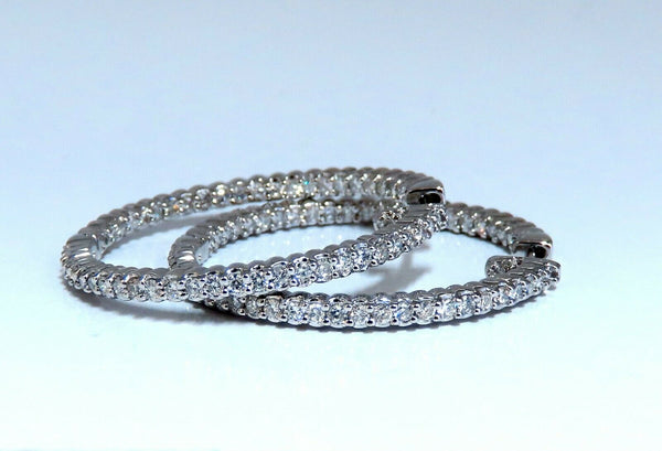 1.50ct Natural Diamond Hoop Earrings 14kt White Gold 1.35inch