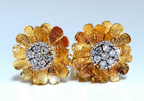 .56ct Natural Diamonds 3D Blossoming Clover Cluster Earrings 14kt