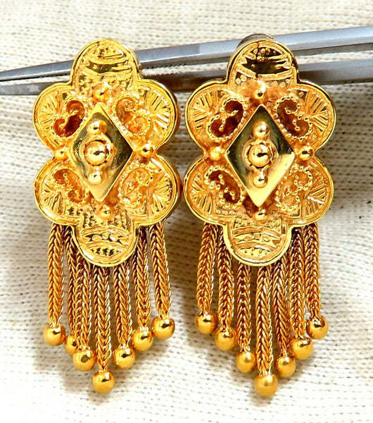 Retro Tribal Elongated Clover Tassel Dangle Earrings 14kt