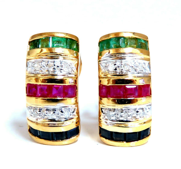 1.13ct Natural Emerald Sapphire Ruby Baguette Diamonds Clip Earrings 14k