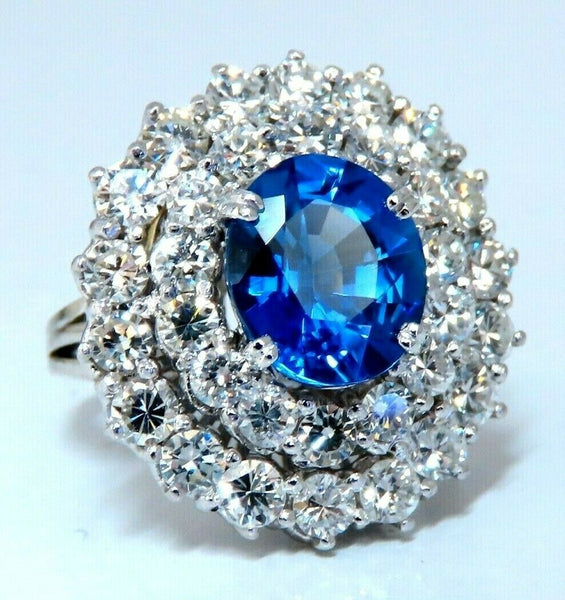 GIA Certified 3.55ct Natural No Heat Blue Sapphire Cocktail Cluster Ring 18kt