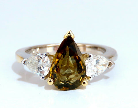 GIA Certified 2.04ct Natural No Heat Yellow Brown Sapphire Diamonds Ring 14kt
