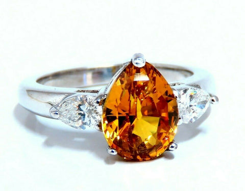 GIA Certified 3.15ct Natural No Heat Yellow Orange Sapphire Diamonds Ring 14kt
