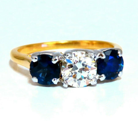 GIA Certified .73ct Round Diamond Sapphires Three Stone Ring 14kt