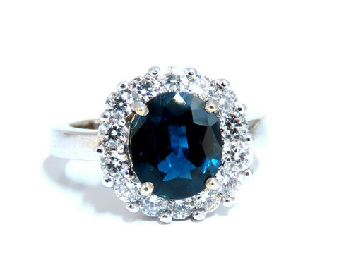 GIA Certified 2.54ct Natural Teal Blue Sapphire Diamond Ring 14 Karat