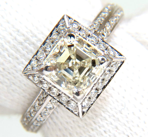 2.20CT ASSCHER CUT DIAMOND RING HALO KNIFE EDGE 14KT BEST