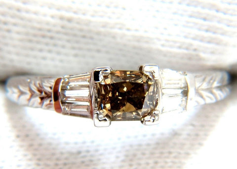 1.29ct. NATURAL FANCY BROWN DIAMOND RING 14KT EDWARDIAN GILT SCALING DECO