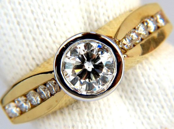 1.20CT FLUSH MOUNT ROUND BRILLIANT DIAMONDS RING 18KT G/VS SIZE 7