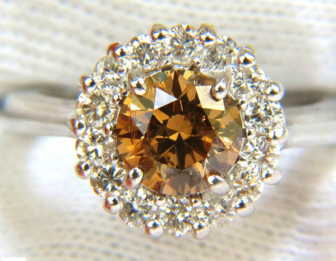2.01CT NATURAL FANCY ORANGE BROWN DIAMOND CLUSTER HALO RING G/VS FULL CUTS