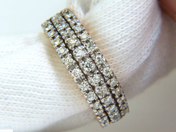 1.23CT DIAMONDS BAND RING H/VS CLASSIC 3 ROWS 14KT