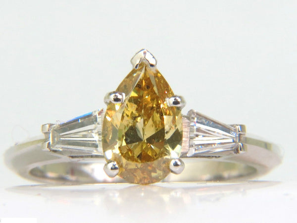 GIA 1.62CT NATURAL FANCY YELLOW DIAMOND RING VIVID & CLEAN