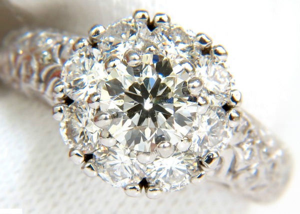 3D GILT 2.06CT CLUSTER DIAMOND RING & A+ DESIGN 14KT VS