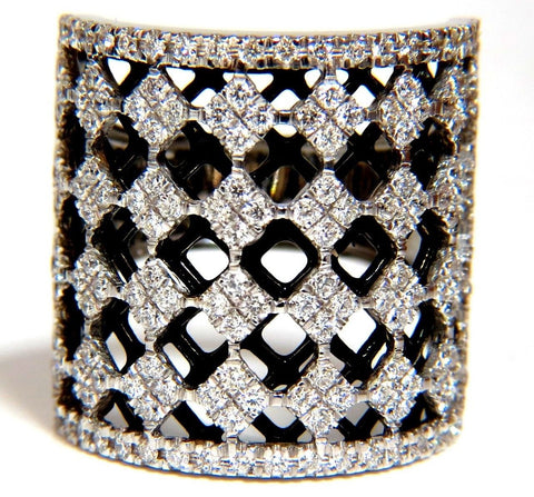 1.82CT DIAMONDS BEAD SET SANDWICHED BLACK UNDERLAY 3D GRILL BAND RING 18KT