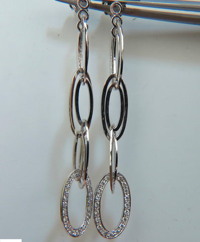 14KT .46CT ELONGATED OVALS DIAMOND DANGLE EARRINGS HINGED 2.6 INCHES