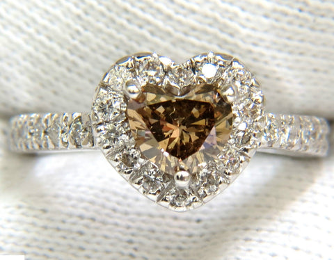 1.37CT NATURAL FANCY BRIGHT BROWN HEART CUT HALO DIAMOND RING 14KT VS