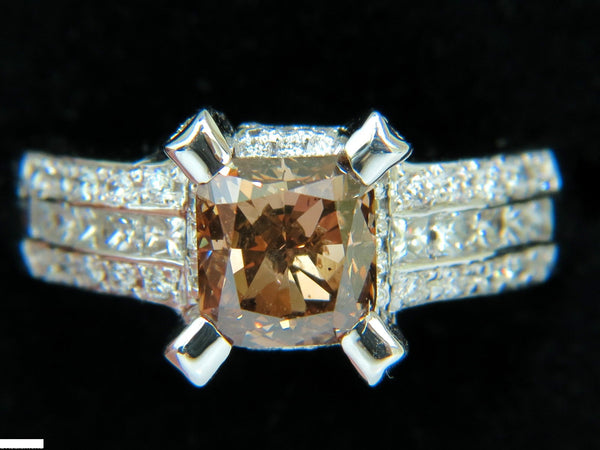 GIA 2.76CT NATURAL FANCY ORANGE BROWN DIAMOND RING G/VS 14KT