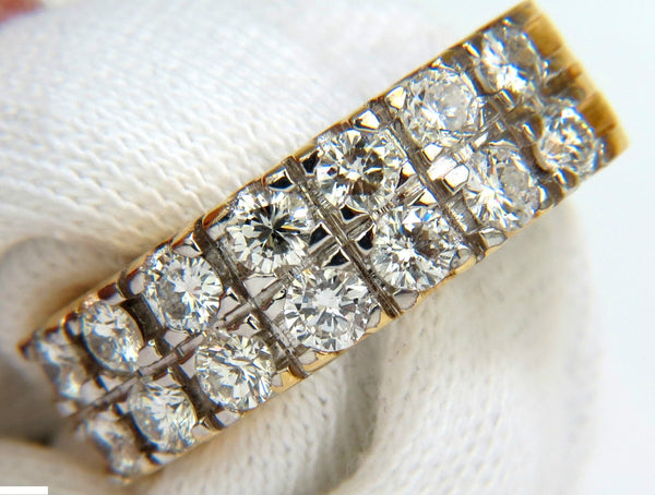2.00CT TWO ROW ROUND DIAMOND BAND RING H/VS 14KT SIZE 8 3/4