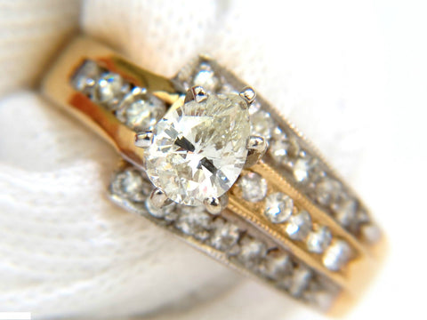 1.00CT BRILLIANT PEAR SHAPE DIAMOND RING 14KT CROSSOVER DECO