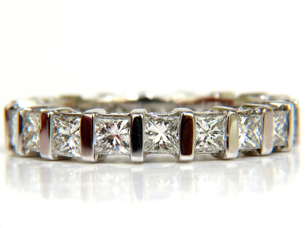 2.85CT PRINCESS DIAMONDS ETERNITY RING H/VS 14KT 7.25 CHANNEL SHARING
