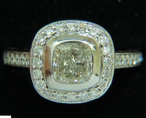 GIA 2.63CT HALO CUSHION CUT DIAMOND RING PLATINUM  I/VS1
