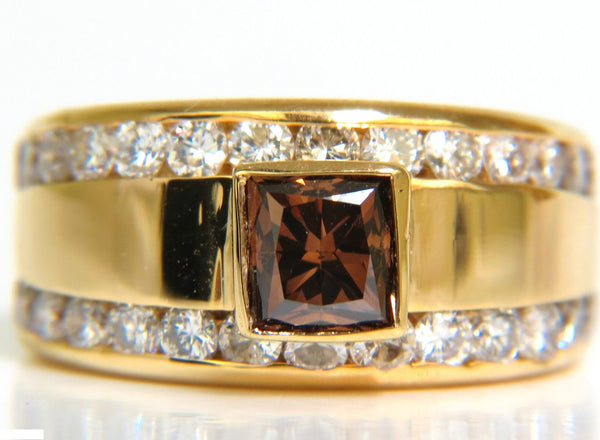 3.21CT NATURAL FANCY VIVID BROWN DIAMOND RING 14KT VS