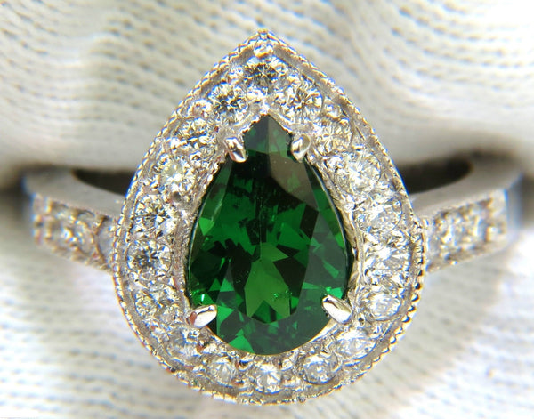 2.56CT NATURAL BRIGHT FINE GEM GREEN TSAVORITE DIAMOND RING 14KT