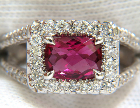 2.73CT NATURAL BRIGHT PINK TOURMALINE DIAMOND RING SPLIT SHANK 14KT