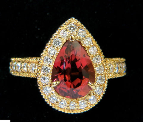 NATURAL 4.50CT PINK TOURMALINE DIAMOND RING HALO A+ LUSTER VS PRIME 14KT