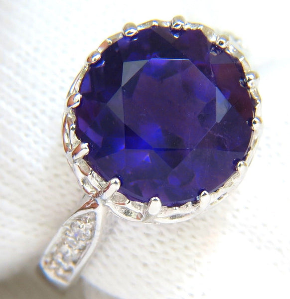 5.20CT NATURAL BRILLIANT ROUND DEEP PURPLE AMETHYST DIAMOND RING 14KT