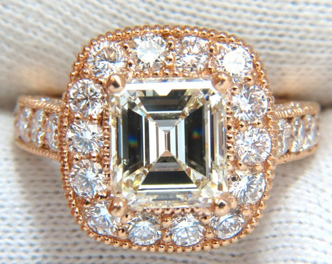 GIA 5.37CT EMERALD CUT DIAMOND RING 18KT BRIDAL ANNIVERSARY HALO CLUSTER