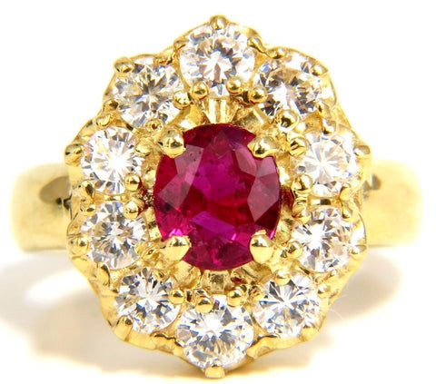 GIA 2.30CT NATURAL RED NO HEAT RUBY DIAMONDS RING 18KT UNHEATED CLUSTER