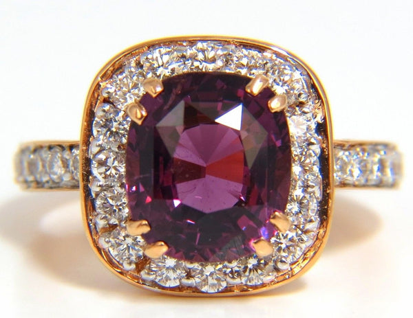 5.54CT NATURAL NO HEAT RED PURPLE SPINEL DIAMONDS RING 18KT UNHEATED