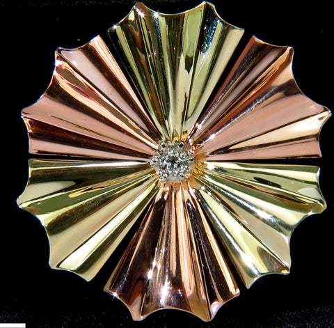 3D 14KT .30ct DIAMOND 1970's SUNBURST BROOCH PIN