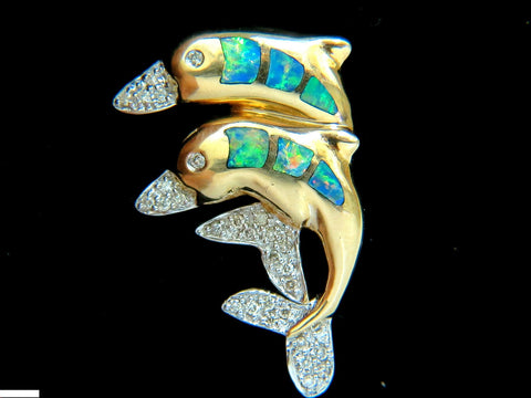 14KT .20CT DOLPHIN 3D NATURAL BRILLIANT OPAL DIAMOND BROOCH PIN