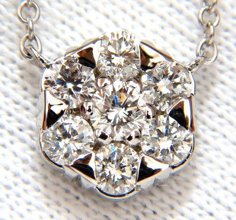 1.08ct. (7) DIAMONDS CLUSTER NECKLACE H/VS 14KT 16 INCH